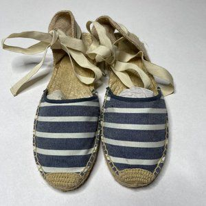 NEW Soludos Navy White Lace Up Espadrilles